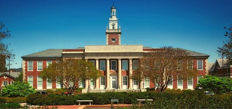 A campus building with a bell tower at Auburn University.