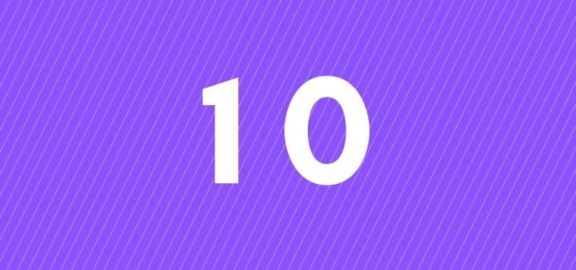 A white ten on a purple background.