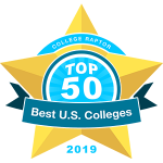 """College Raptor Rankings star badge that says """"Top 50 Best US Colleges 2019""""."""