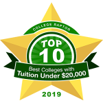 """A gold star badge that says """"College Raptor Top 10 Best Colleges with Tuition under $20,000 2019."""""""
