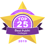 """A gold star badge that says """"College Raptor Top 25 Best Public Colleges 2019."""""""