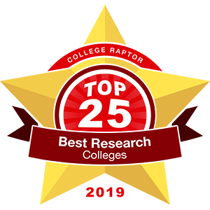 """A gold star badge that says """"College Raptor Top 25 Best Research Colleges 2019""""."""