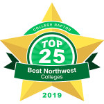 """Gold star badge that says """"College Raptor Top 25 Best Northwest Colleges 2019."""""""