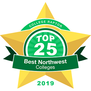"Gold star badge that says ""College Raptor Top 25 Best Northwest Colleges 2019."""