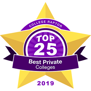 """A gold star badge that says """"College Raptor Top 25 Best Private Colleges 2019""""."""