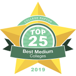 """A gold star badge that says """"College Raptor Top 25 Best Medium Colleges 2019."""""""