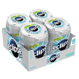 4 white bottles of Eclipse Polar Ice Sugar-free Gum in a box. Click to view its Amazon page.