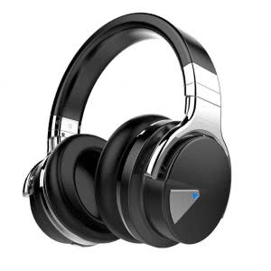 Black and silver noise-cancelling headphones. Click to view its Amazon page.