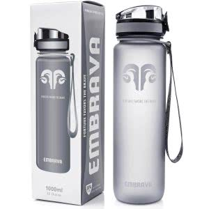 Silver water bottle with a strap. Click to view its Amazon page.