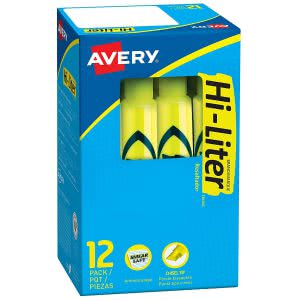 A box of Avery Hi-Liter in Fluorescent Yellow. Click to view its Amazon page.