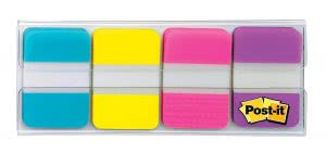 Small Post-It tabs in multiple colors. Click to view its Amazon page.