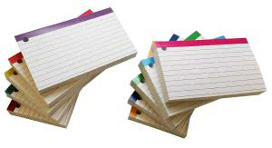 A stack of notecards with a hole punch in the corner. Click to view its Amazon page.