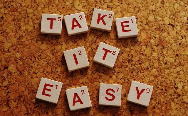 """Tiles spell out """"Take it easy"""""""
