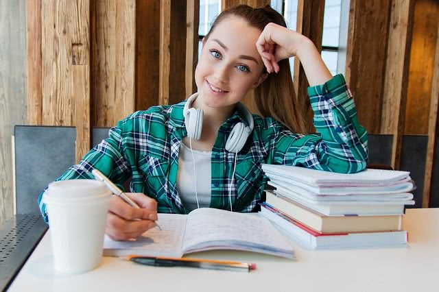 Student studies for her second ACT test