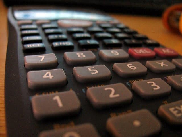 Black calculator close up.