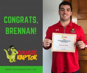 College Raptor scholarship winner Brennan Ryan