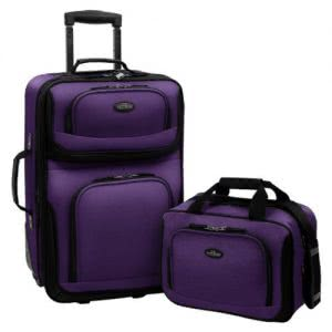 Purple roller suitcase next to a purple carry-on bag. Click to view its Amazon
