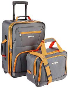 Gray and orange suitcase next to a gray and orange carry-on bag. Click to view its Amazon page.