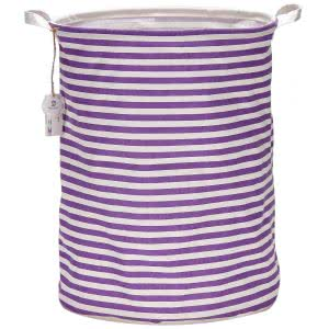 SeaTeam Waterproof Canvas Laundry Bag Basket with Stripe Design, purple and white with handles. Click to view the Amazon page.