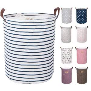 Striped or polka-dotted DOKEHOM Large Laundry Basket with drawstring. Click to view the Amazon page.