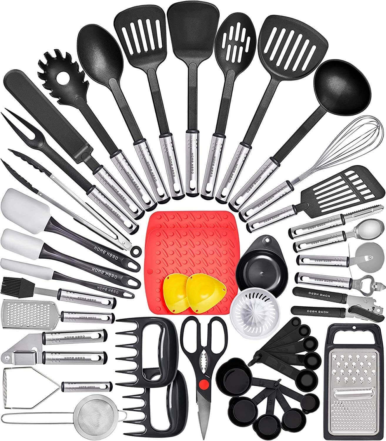Multiple kitchen utensils and tools