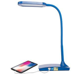 Blue LED desk lamp with a cellphone connected to the lamp via USB cable. Click to view its Amazon Page.
