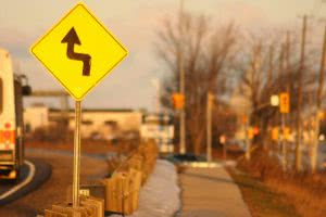 Jagged road sign - like a windy road, a variable interest rate can twist and turn