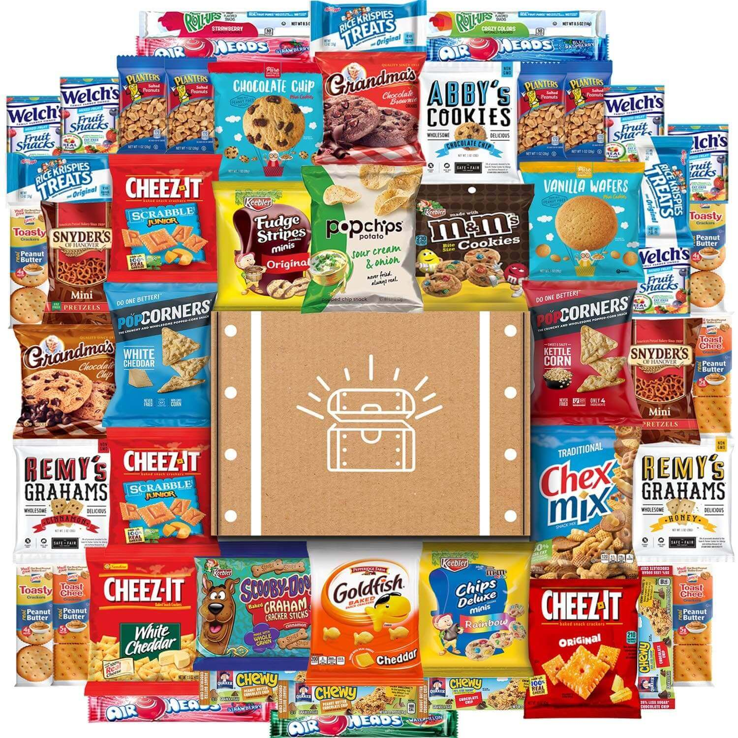 A variety of snacks in a pile.