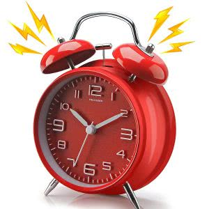 Red twin bell alarm clock showing 10:10 o'clock. Click to view its Amazon page.
