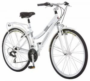 A white aluminum Schwinn hybrid bicycle. Click to view its Amazon page.