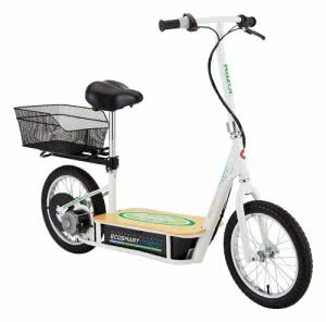 Razor electric scooter with bamboo deck and basket. Click to view its Amazon page.