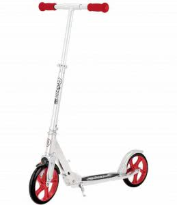 Razor scooter with red wheels and handlebar. Click to view its Amazon page.