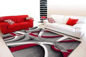 2305 Gray Black Red White Swirls rugs