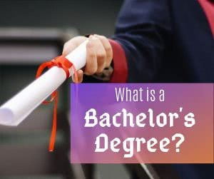 Student with diploma and text: what is a bachelor's degree?