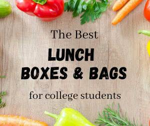 """Fresh vegetables with overlay text that says """"the best lunch box and bag options for college students."""""""