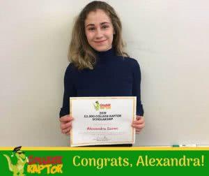 College Raptor scholarship winner Alexandra