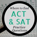 Multiple choice test with text: where to find SAT and ACT practice questions