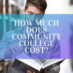 """A college student holding a book in the library, with text overlayed that says """"how much does community college cost?"""""""