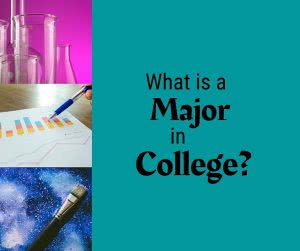 Beakers, a chart, and paintbrush with text: What is a Major in College?