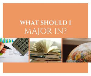 A calculator, book, and globe with text: what should I major in?