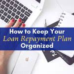 Desk with laptop, notes, and phone with text: How to keep your loan repayment plan organized