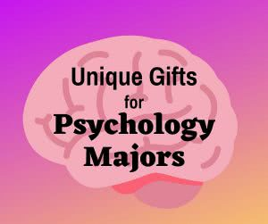 Brain icon with text: unique gifts for psychology majors