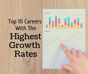 Statistic charts with text: top 10 careers with the highest projected job growth rates