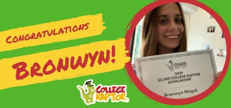 Bronwyn Mogck, winner of the College Raptor $2,500 Scholarship, posing with her certificate.
