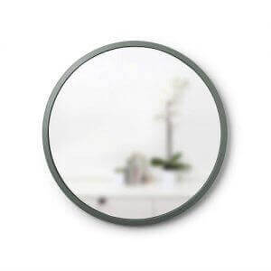 Round rubber-framed mirror by Umbra. Image linked to its Amazon page.
