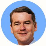 Presidential Candidate Michael Bennet on a blue background