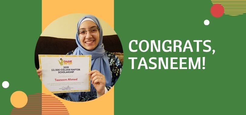 Scholarship Winner Tasneem Ahmed with her certificate.