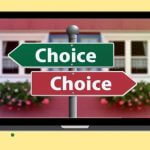 """Laptop icon with two arrow signs, each saying """"Choice."""""""