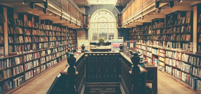 A college library filled with books.