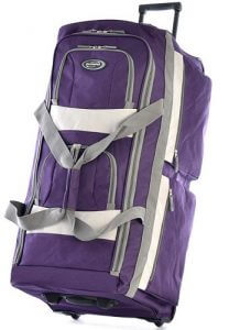 A purple Olympia rolling duffel bag. Click the image to visit its Amazon page.